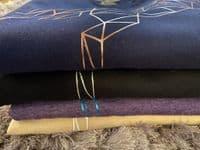 Eliza T Imperfectly Perfect Geometric Unisex Unicorn Sweater - Navy & Rose Gold